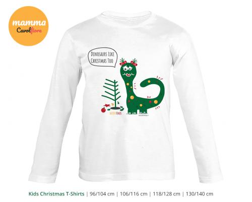 Δινόσαυρος 02 - Μακρυμάνικο μπλουζάκι - Χριστούγεννα 100% Cotton