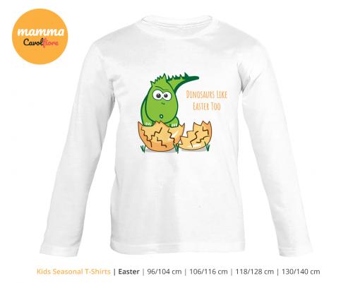 Δινόσαυρος - Μακρυμάνικο μπλουζάκι - Πάσχα 100% Cotton