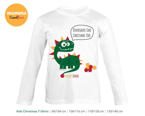 Δινόσαυρος 01- Μακρυμάνικο μπλουζάκι - Χριστούγεννα 100% Cotton
