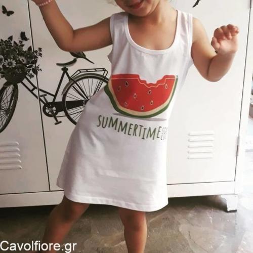 Παιδικό βαμβακερό αμάνικο φορεματάκι ΚΑΡΠΟΥΖΙ