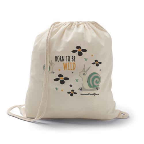 Οικολογική βαμβακερή τσάντα πλάτης BORN TO BE WILD AND | SNAILS